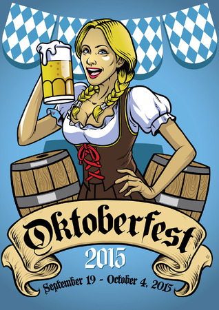 beautiful women celebrating oktoberfest Illustration