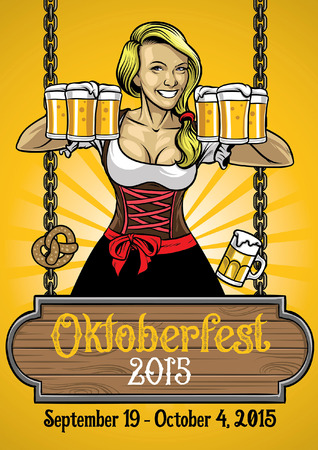 happy german women celebrating oktoberfest Illustration