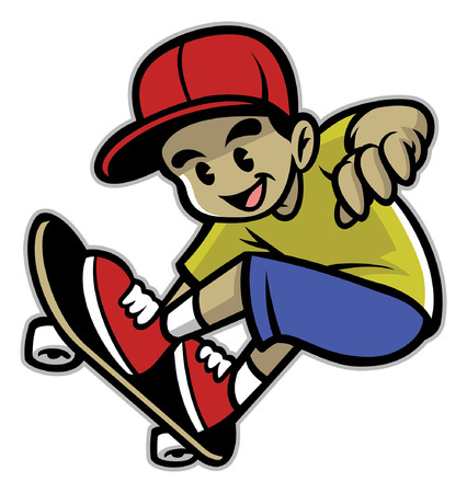 boy enjoy playing skateboard