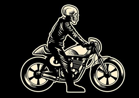 cráneo montar la motocicleta vintage cafe racer