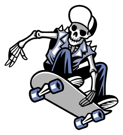 jumping skull riding skateboard