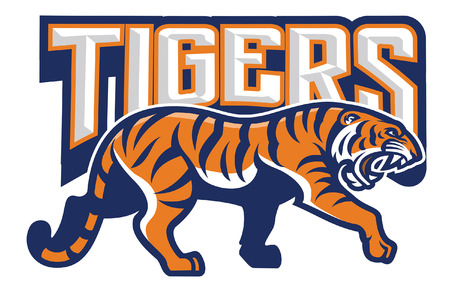 tiger mascot in sport logo style
