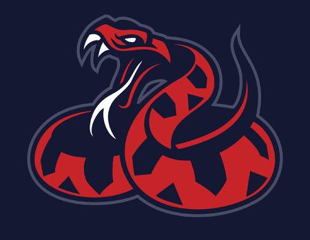 snake mascot in american sport logo style Illustration