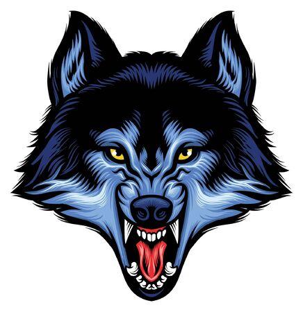 cabeza enojada de lobo rugiente