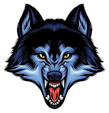 angry head of roaring wolf Illustration