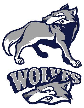 set of wolf mascot