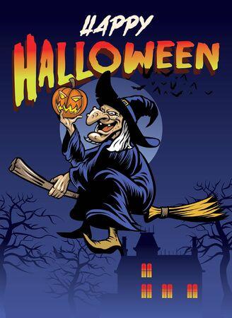 Halloween-Poster mit der alten Hexe, die auf dem fliegenden Besen reitet