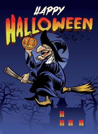 halloween poster with the old witch riding the flying broom Vettoriali