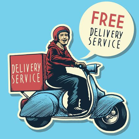 happy delivery man riding old scooter Vetores