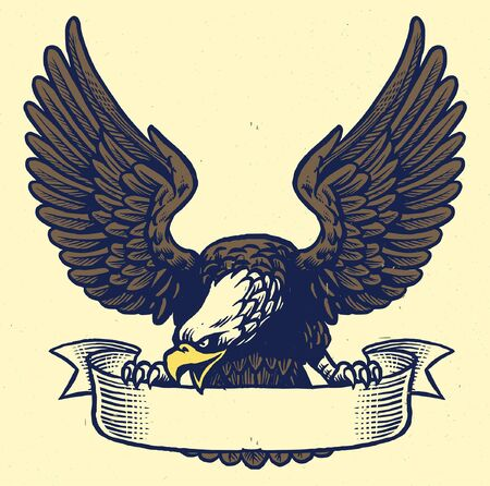vintage hand drawn of eagle hold the blank ribbon