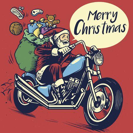 dibujo vintage santa claus montando motocicleta chopper con regalos de navidad