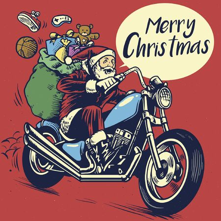 vintage drawing santa claus riding chopper motorcycle with christmas presents