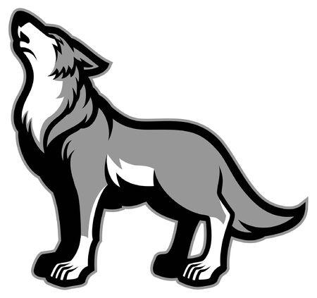 howling wolf mascot 向量圖像