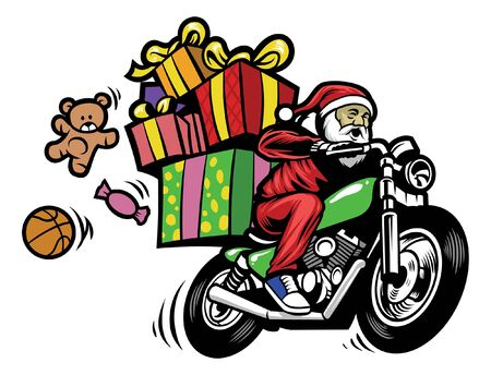 santa claus riding motorcycle with pile of christmas presents Illustration