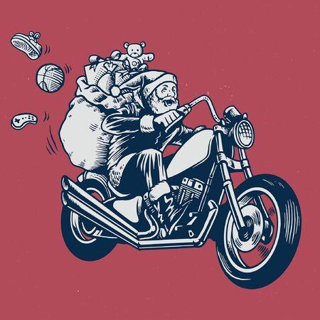 handgezeichneter Weihnachtsmann, der Chopper-Motorrad reitet