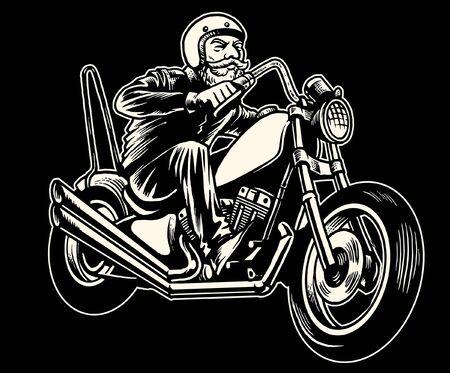 vintage illustration of old man riding chopper motorcycle