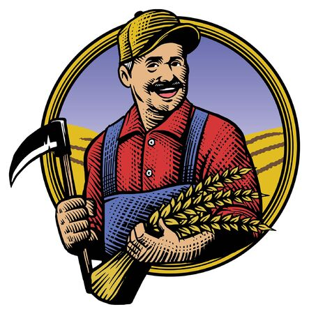 vintage style drawing engraving of farmer hold the sickle and crop
