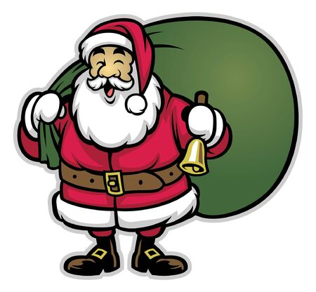 happy smiling santa claus in cartoon style