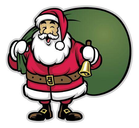 happy smiling santa claus in cartoon style