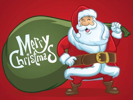 cartoon of santa claus hold the big bag Vettoriali