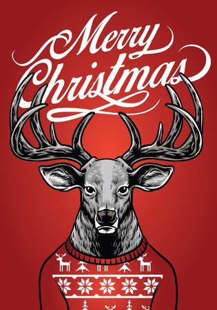 Weihnachtsgrußkarte mit Reh im hässlichen Pullover Vektorgrafik