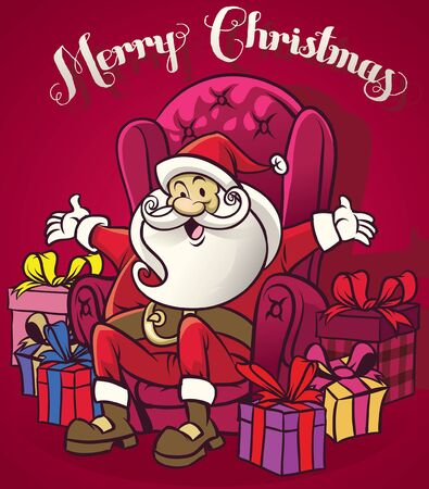 cartoon santa claus sit on the sofa with christmas presents around him Иллюстрация