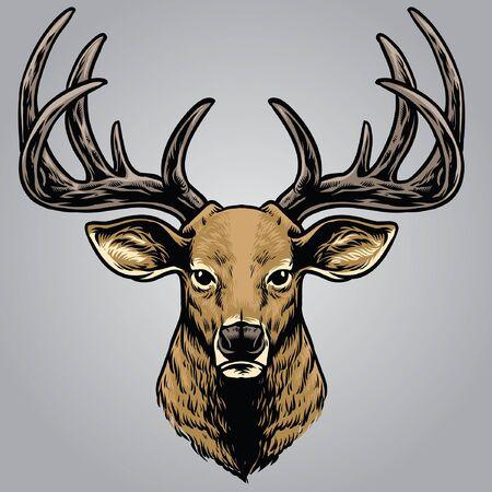 cabeza de ciervo dibujada a mano