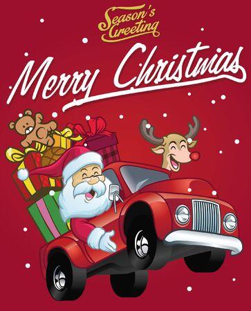 świąteczna kartka z życzeniami ze świętym mikołajem i jeleniem jadącym samochodem