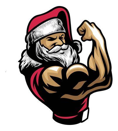 de kerstman laat zijn gespierde arm zien Vector Illustratie