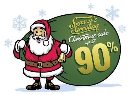 cartoon of happy santa claus hold big bag with christmas sale text