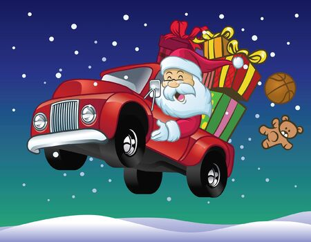 cartoon santa claus ride car with pile of christmas presents