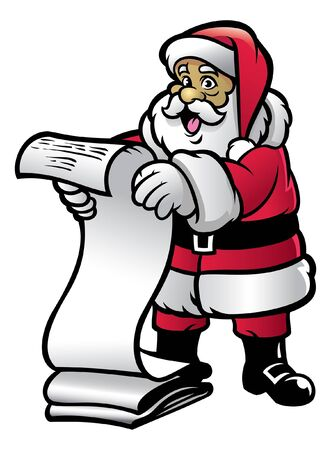 happy cartoon santa claus reading long list paper Иллюстрация