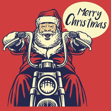 vintage hand drawn santa claus riding motorcycle