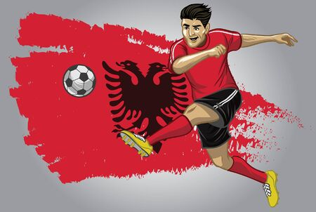 albania soccer player kicking the ball with flag background