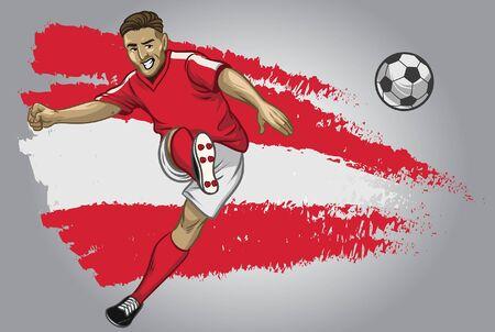 austriacki piłkarz kopiący piłkę z flagą w tle