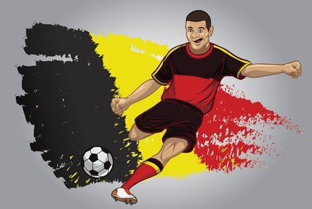 belgium soccer player kicking the ball with flag background