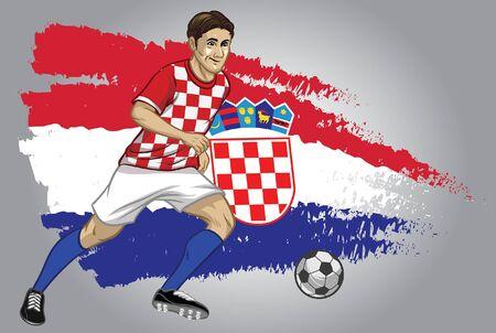 Kroatien-Fußballspieler, der den Ball mit Flaggenhintergrund dribbelt