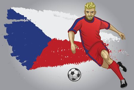 czech soccer player dribbling the ball with flag background