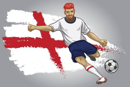 england soocer player kicking the ball with flag background