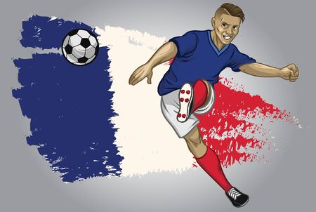 france soccer player kicking the ball with flag background