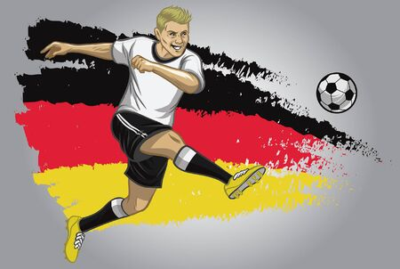 germany soccer player kicking the ball with flag background 向量圖像