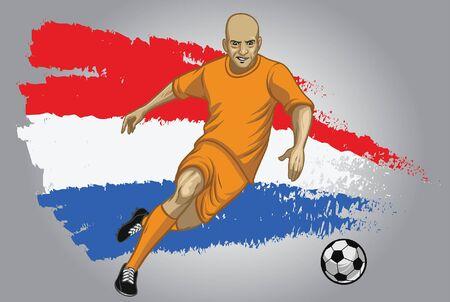 Jugador de fútbol de Holanda con fondo de bandera de Holanda