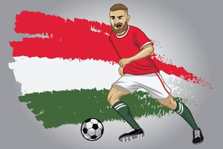 hungary soccer player dribbling the ball with hungary flag background Illusztráció