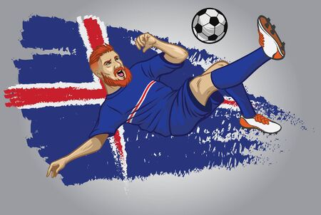 iceland soccer player kicking the ball with iceland flag background Illustration