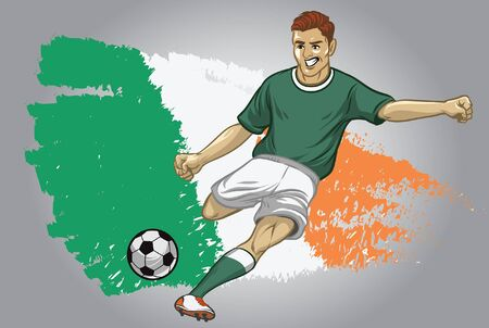ireland soccer player kicking the ball with flag background