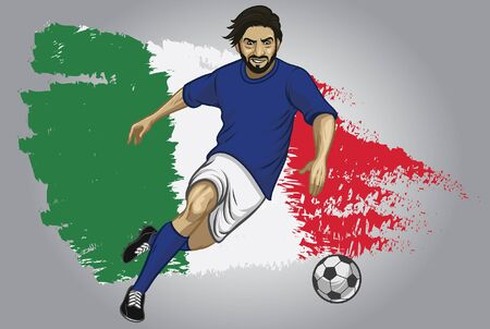 italy soccer player with flag background 向量圖像