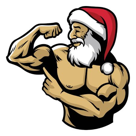 santa claus show his muscle body