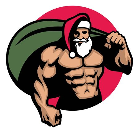 muscular athletic body of santa claus with christmas presents 写真素材 - 128159779