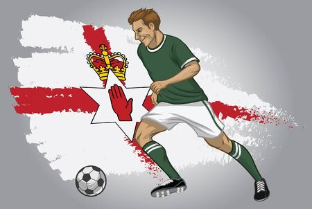 north ireland soccer player with flag background