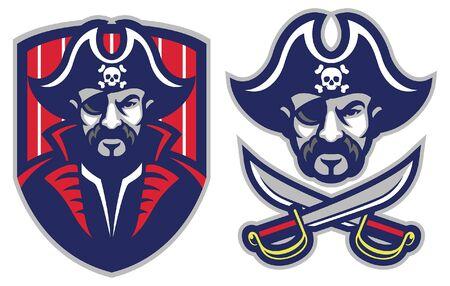 set of vicious pirate mascot Çizim